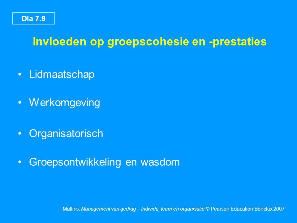 Dia 7.9 Mullins: Management van gedrag – Individu, team en organisatie © Pearson Education Benelux 2007 Invloeden op groepscohesie en -prestaties •Lid