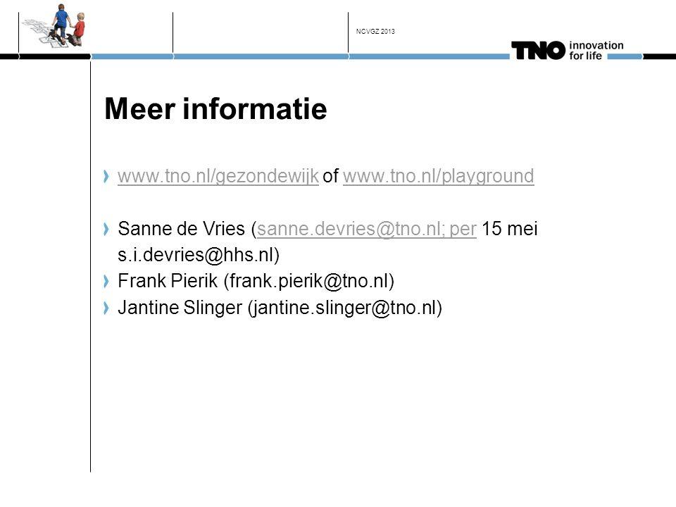 Meer informatie www.tno.nl/gezondewijkwww.tno.nl/gezondewijk of www.tno.nl/playgroundwww.tno.nl/playground Sanne de Vries (sanne.devries@tno.nl; per 1