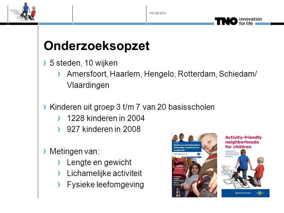 Onderzoeksopzet 5 steden, 10 wijken Amersfoort, Haarlem, Hengelo, Rotterdam, Schiedam/ Vlaardingen Kinderen uit groep 3 t/m 7 van 20 basisscholen 1228