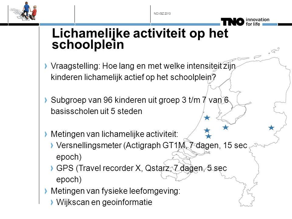 Lichamelijke activiteit op het schoolplein Vraagstelling: Hoe lang en met welke intensiteit zijn kinderen lichamelijk actief op het schoolplein? Subgr