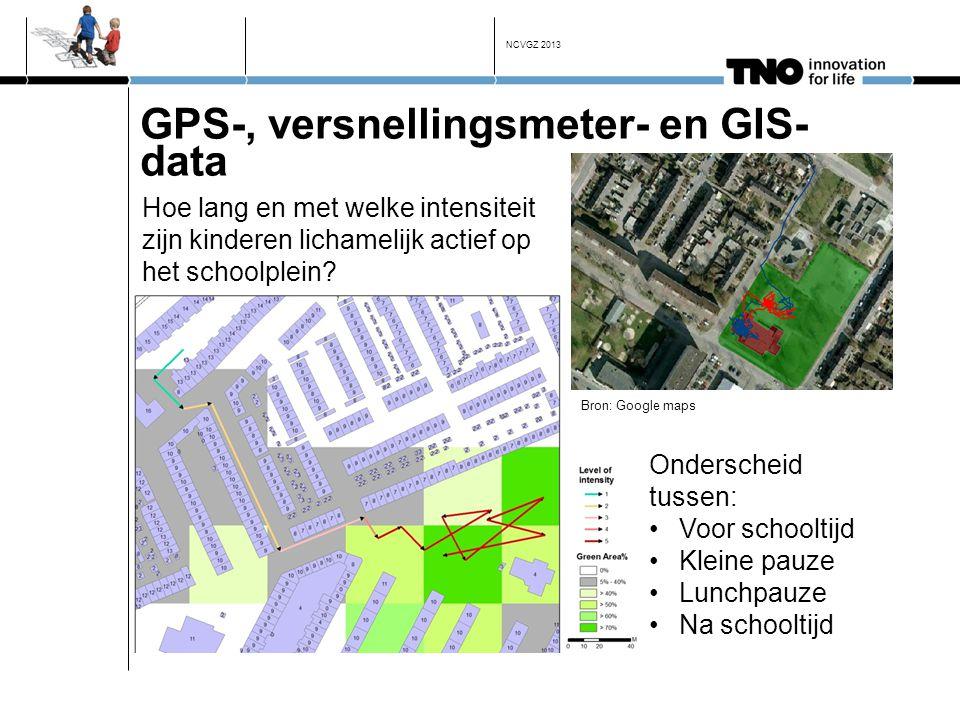 GPS-, versnellingsmeter- en GIS- data Bron: Google maps Onderscheid tussen: •Voor schooltijd •Kleine pauze •Lunchpauze •Na schooltijd Hoe lang en met