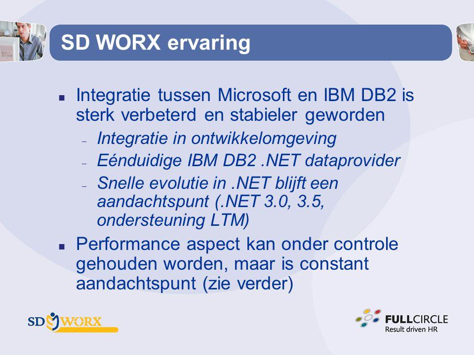 SD WORX ervaring n Integratie tussen Microsoft en IBM DB2 is sterk verbeterd en stabieler geworden – Integratie in ontwikkelomgeving – Eénduidige IBM