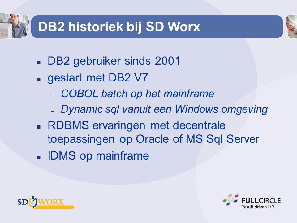 DB2 historiek bij SD Worx n DB2 gebruiker sinds 2001 n gestart met DB2 V7 – COBOL batch op het mainframe – Dynamic sql vanuit een Windows omgeving n R