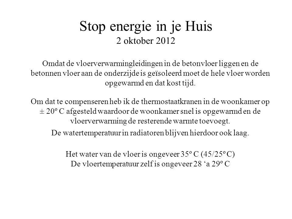 Stop energie in je Huis 2 oktober 2012 Omdat de vloerverwarmingleidingen in de betonvloer liggen en de betonnen vloer aan de onderzijde is geïsoleerd
