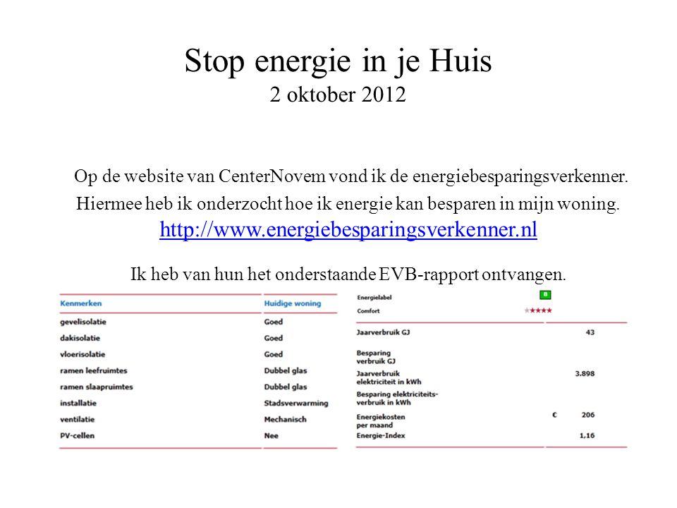 Op de website van CenterNovem vond ik de energiebesparingsverkenner. Hiermee heb ik onderzocht hoe ik energie kan besparen in mijn woning. http://www.