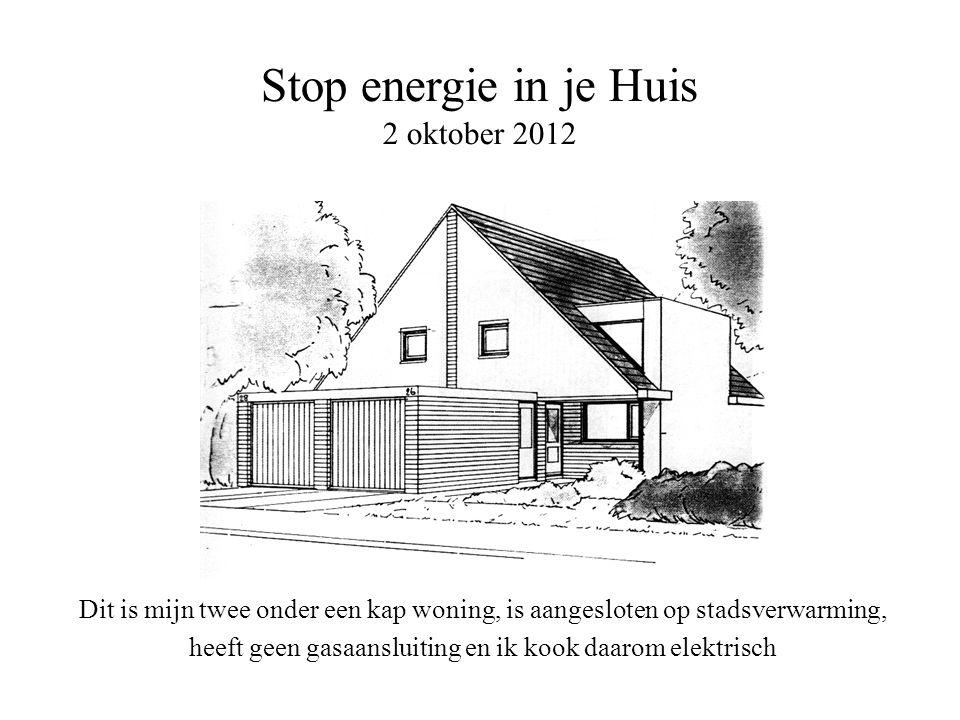 Stop energie in je Huis 2 oktober 2012 Dit is mijn twee onder een kap woning, is aangesloten op stadsverwarming, heeft geen gasaansluiting en ik kook