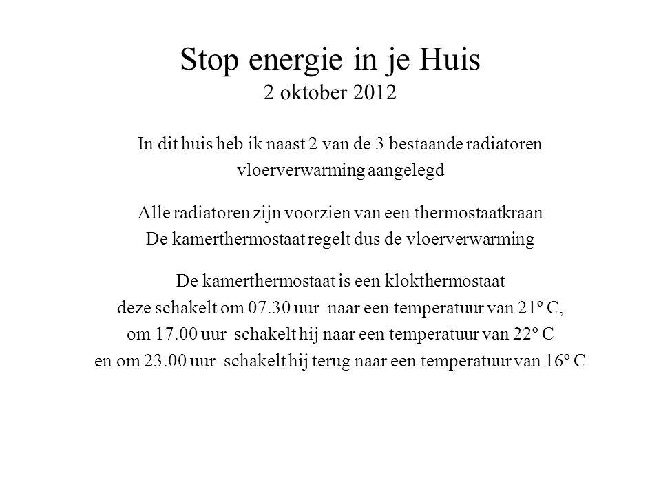 Stop energie in je Huis 2 oktober 2012 In dit huis heb ik naast 2 van de 3 bestaande radiatoren vloerverwarming aangelegd Alle radiatoren zijn voorzien van een thermostaatkraan De kamerthermostaat regelt dus de vloerverwarming De kamerthermostaat is een klokthermostaat deze schakelt om 07.30 uur naar een temperatuur van 21º C, om 17.00 uur schakelt hij naar een temperatuur van 22º C en om 23.00 uur schakelt hij terug naar een temperatuur van 16º C