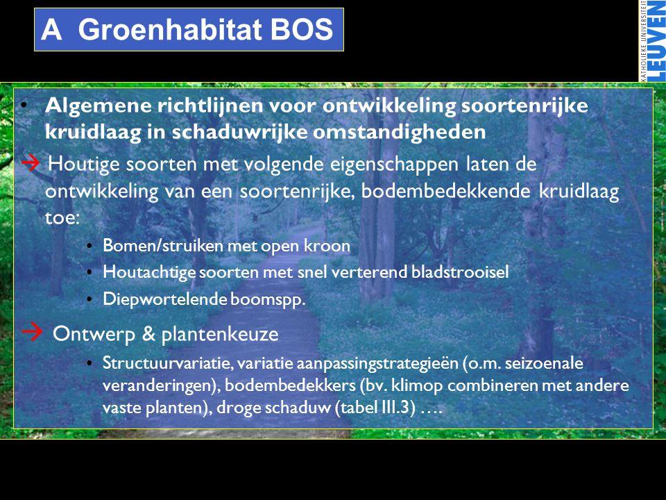 A Groenhabitat BOS •Algemene richtlijnen voor ontwikkeling soortenrijke kruidlaag in schaduwrijke omstandigheden  Houtige soorten met volgende eigens