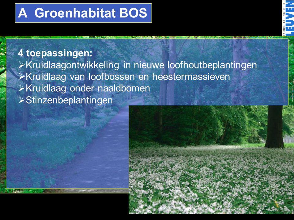 A Groenhabitat BOS 4 toepassingen:  Kruidlaagontwikkeling in nieuwe loofhoutbeplantingen  Kruidlaag van loofbossen en heestermassieven  Kruidlaag o