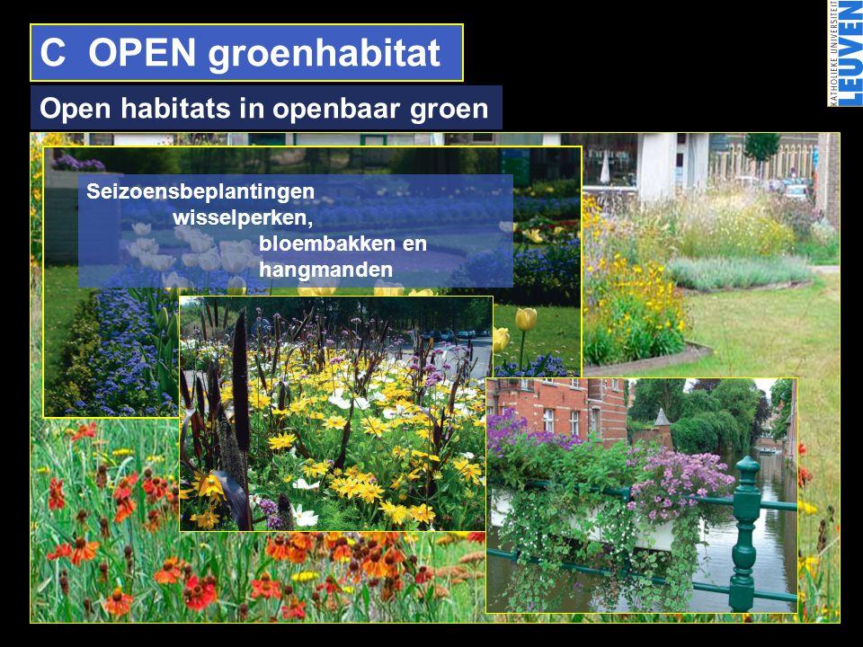 C OPEN groenhabitat Open habitats in openbaar groen Seizoensbeplantingen wisselperken, bloembakken en hangmanden