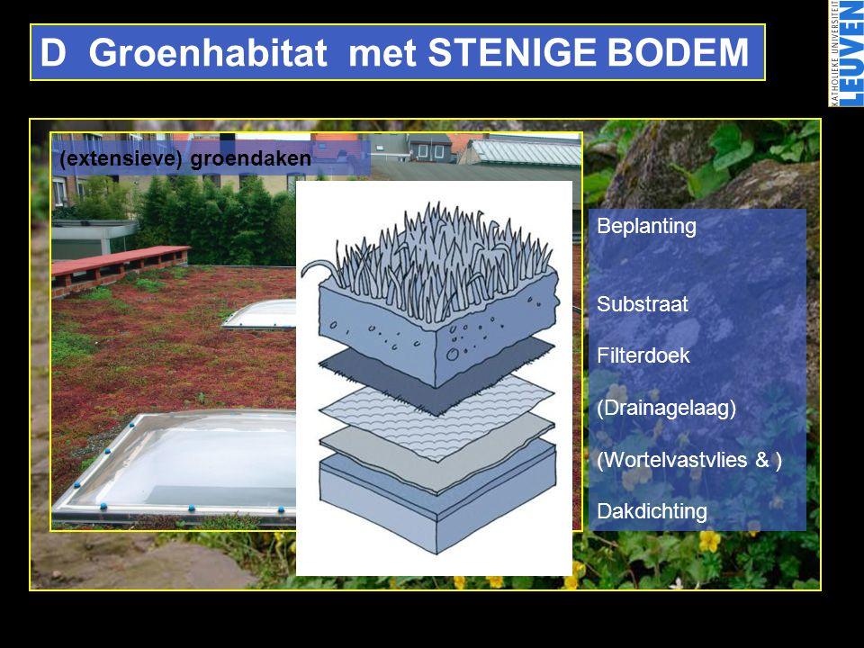 D Groenhabitat met STENIGE BODEM (extensieve) groendaken Beplanting Substraat Filterdoek (Drainagelaag) (Wortelvastvlies & ) Dakdichting