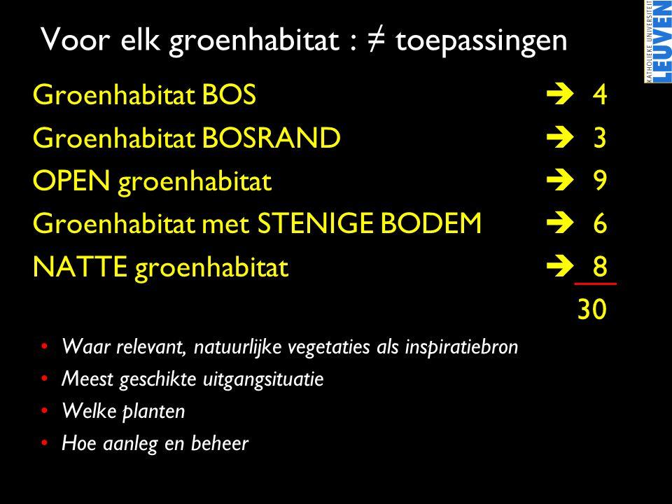 •Groenhabitat BOS  4 •Groenhabitat BOSRAND  3 •OPEN groenhabitat  9 •Groenhabitat met STENIGE BODEM  6 •NATTE groenhabitat  8 30 •Waar relevant,
