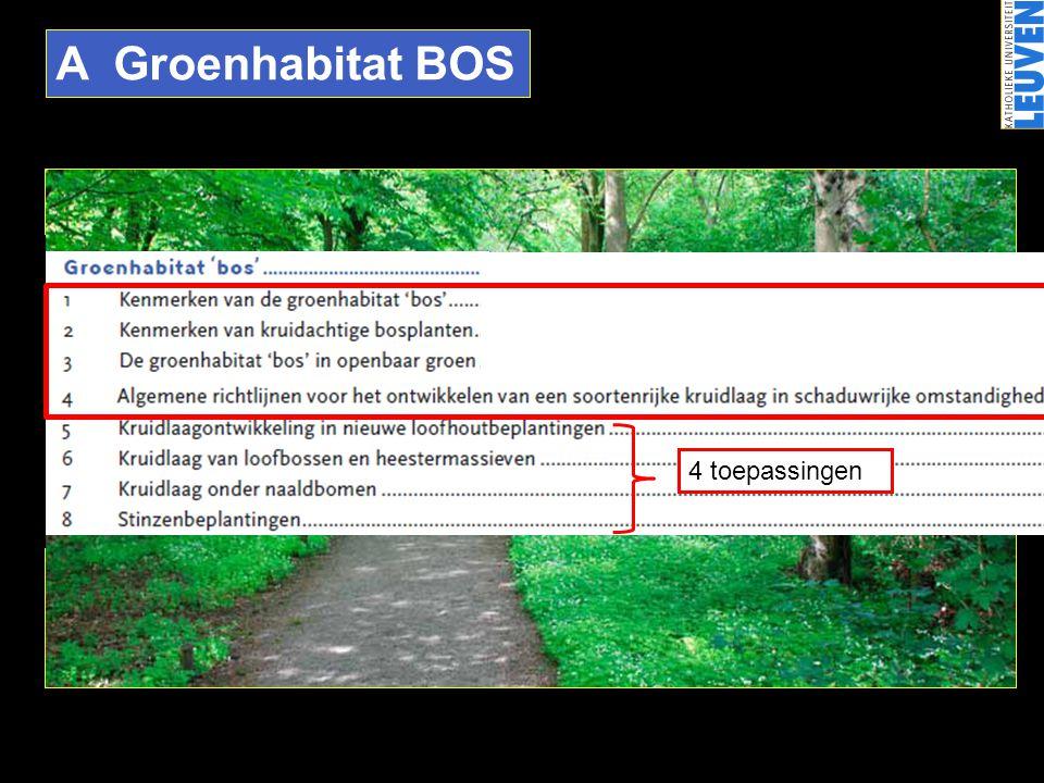 A Groenhabitat BOS •Loofbossen : natuurlijke eindstadium van de successie •Gelaagdheid •Lichtschaarste ('stress') •Bodemvochtigheid •Humus & strooisel •Getemperd microklimaat •Neerslaginterceptie •…•…