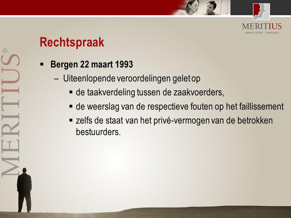 Rechtspraak  Bergen 22 maart 1993 –Uiteenlopende veroordelingen gelet op  de taakverdeling tussen de zaakvoerders,  de weerslag van de respectieve