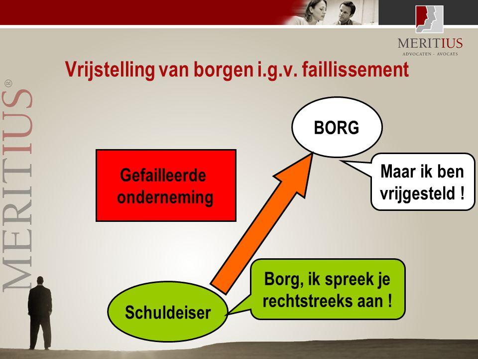 Vrijstelling van borgen i.g.v. faillissement Gefailleerde onderneming BORG Schuldeiser Maar ik ben vrijgesteld ! Borg, ik spreek je rechtstreeks aan !