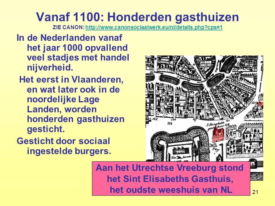 21 Vanaf 1100: Honderden gasthuizen ZIE CANON: http://www.canonsociaalwerk.eu/nl/details.php?cps=1http://www.canonsociaalwerk.eu/nl/details.php?cps=1