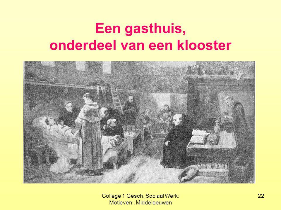 22College 1 Gesch. Sociaal Werk: Motieven ; Middeleeuwen 22 Een gasthuis, onderdeel van een klooster