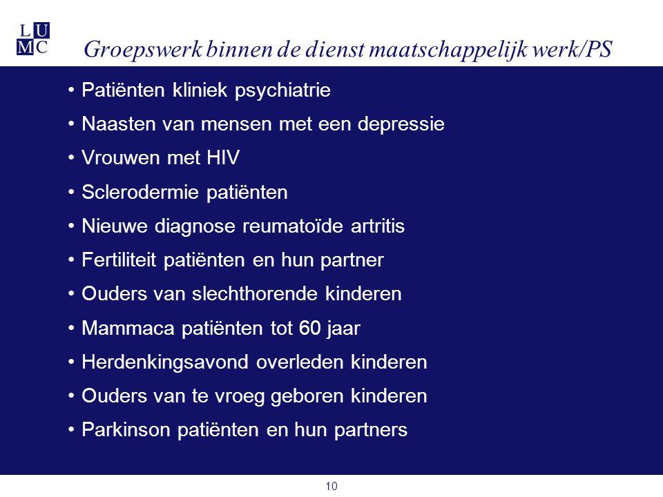 10 •Patiënten kliniek psychiatrie •Naasten van mensen met een depressie •Vrouwen met HIV •Sclerodermie patiënten •Nieuwe diagnose reumatoïde artritis