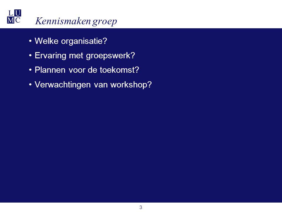 Kennismaken groep •Welke organisatie? •Ervaring met groepswerk? •Plannen voor de toekomst? •Verwachtingen van workshop? 3
