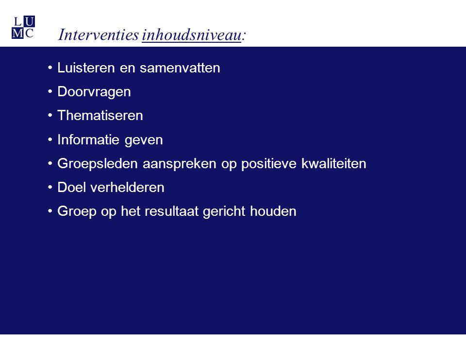 Interventies inhoudsniveau: •Luisteren en samenvatten •Doorvragen •Thematiseren •Informatie geven •Groepsleden aanspreken op positieve kwaliteiten •Do
