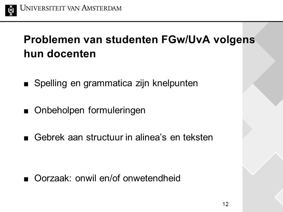 12 Problemen van studenten FGw/UvA volgens hun docenten Spelling en grammatica zijn knelpunten Onbeholpen formuleringen Gebrek aan structuur in alinea