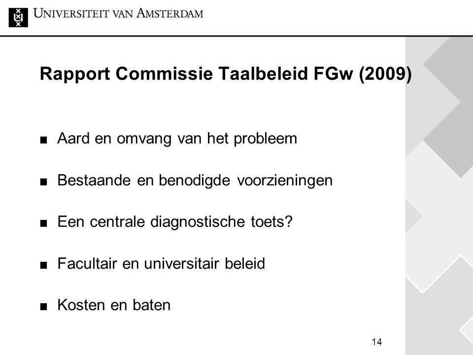 14 Rapport Commissie Taalbeleid FGw (2009) Aard en omvang van het probleem Bestaande en benodigde voorzieningen Een centrale diagnostische toets? Facu