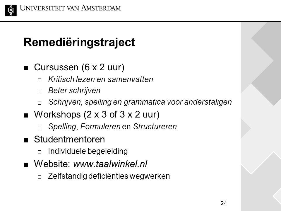 24 Remediëringstraject Cursussen (6 x 2 uur)  Kritisch lezen en samenvatten  Beter schrijven  Schrijven, spelling en grammatica voor anderstaligen