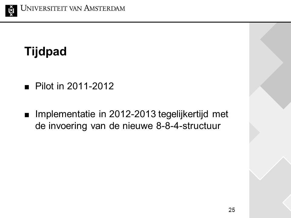 25 Tijdpad Pilot in 2011-2012 Implementatie in 2012-2013 tegelijkertijd met de invoering van de nieuwe 8-8-4-structuur