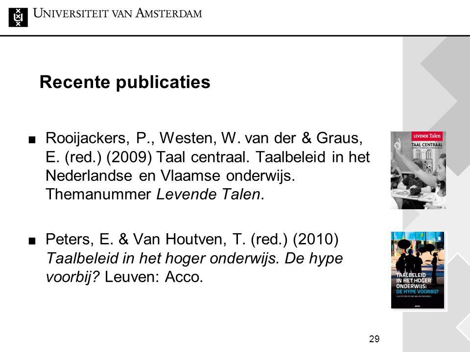 29 Recente publicaties Rooijackers, P., Westen, W. van der & Graus, E. (red.) (2009) Taal centraal. Taalbeleid in het Nederlandse en Vlaamse onderwijs