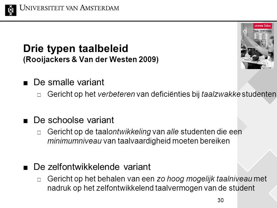 30 Drie typen taalbeleid (Rooijackers & Van der Westen 2009) De smalle variant  Gericht op het verbeteren van deficiënties bij taalzwakke studenten D