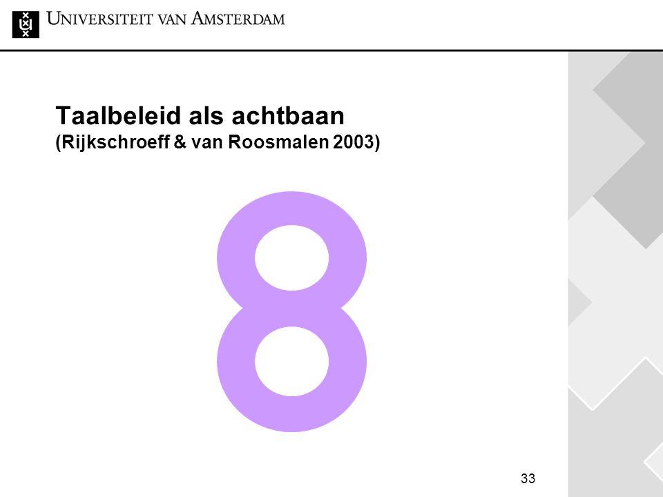 33 Taalbeleid als achtbaan (Rijkschroeff & van Roosmalen 2003)