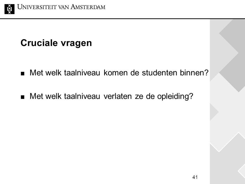 41 Cruciale vragen Met welk taalniveau komen de studenten binnen? Met welk taalniveau verlaten ze de opleiding?