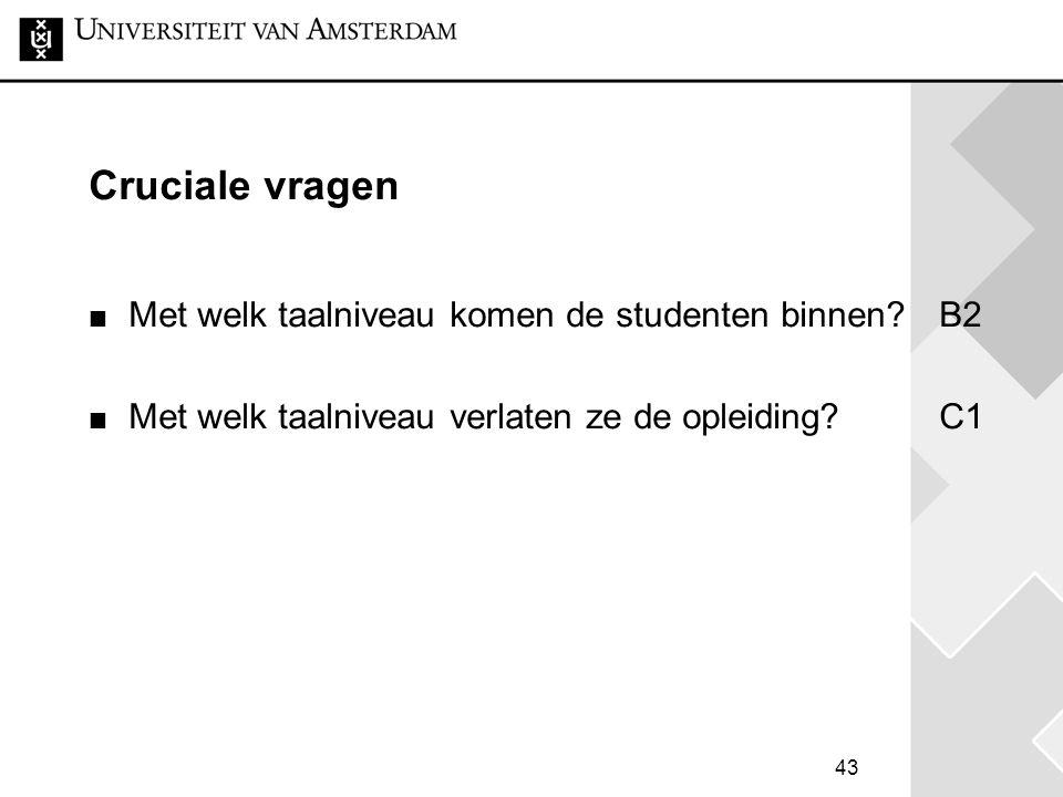43 Cruciale vragen Met welk taalniveau komen de studenten binnen?B2 Met welk taalniveau verlaten ze de opleiding?C1