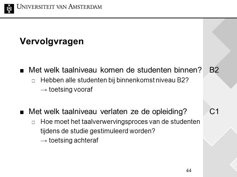 44 Vervolgvragen Met welk taalniveau komen de studenten binnen?B2  Hebben alle studenten bij binnenkomst niveau B2? → toetsing vooraf Met welk taalni