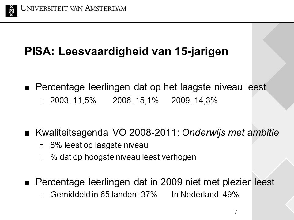 7 PISA: Leesvaardigheid van 15-jarigen Percentage leerlingen dat op het laagste niveau leest  2003: 11,5%2006: 15,1%2009: 14,3% Kwaliteitsagenda VO 2