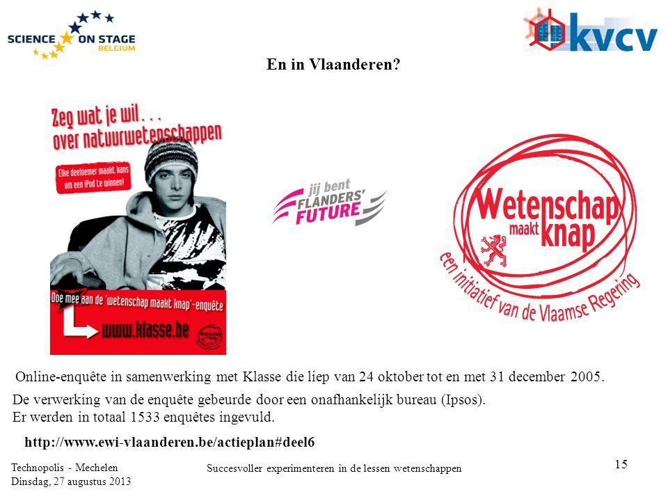 15 Technopolis - Mechelen Dinsdag, 27 augustus 2013 Succesvoller experimenteren in de lessen wetenschappen Online-enquête in samenwerking met Klasse die liep van 24 oktober tot en met 31 december 2005.