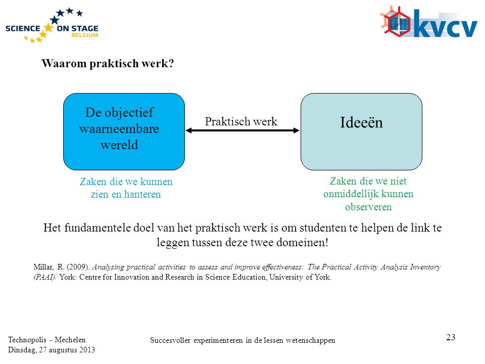 23 Technopolis - Mechelen Dinsdag, 27 augustus 2013 Succesvoller experimenteren in de lessen wetenschappen Waarom praktisch werk? Het fundamentele doe