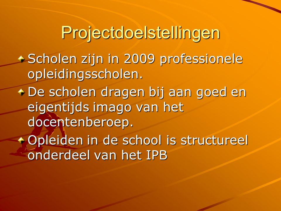 Projectdoelstellingen Scholen zijn in 2009 professionele opleidingsscholen. De scholen dragen bij aan goed en eigentijds imago van het docentenberoep.