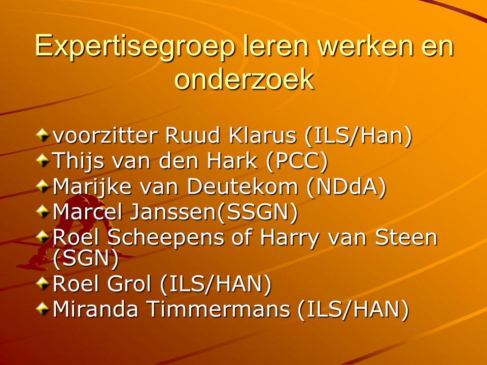 Expertisegroep leren werken en onderzoek voorzitter Ruud Klarus (ILS/Han) Thijs van den Hark (PCC) Marijke van Deutekom (NDdA) Marcel Janssen(SSGN) Ro