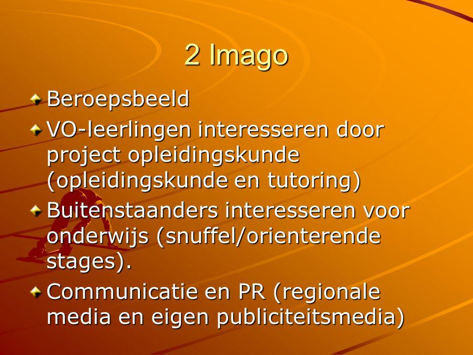2 Imago Beroepsbeeld VO-leerlingen interesseren door project opleidingskunde (opleidingskunde en tutoring) Buitenstaanders interesseren voor onderwijs