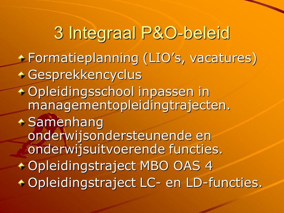 3 Integraal P&O-beleid Formatieplanning (LIO's, vacatures) Gesprekkencyclus Opleidingsschool inpassen in managementopleidingtrajecten. Samenhang onder
