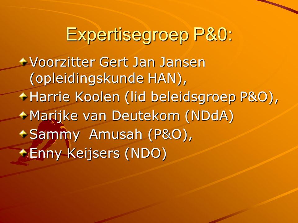 Expertisegroep P&0: Voorzitter Gert Jan Jansen (opleidingskunde HAN), Harrie Koolen (lid beleidsgroep P&O), Marijke van Deutekom (NDdA) Sammy Amusah (