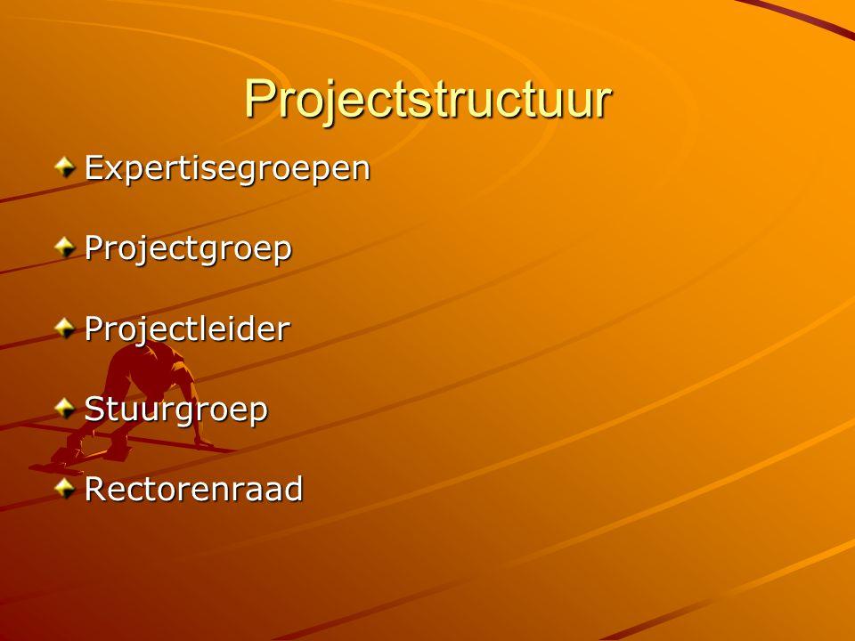 Projectstructuur ExpertisegroepenProjectgroepProjectleiderStuurgroepRectorenraad