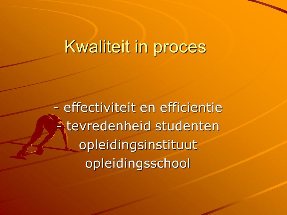 Kwaliteit in proces - effectiviteit en efficientie - tevredenheid studenten opleidingsinstituutopleidingsschool