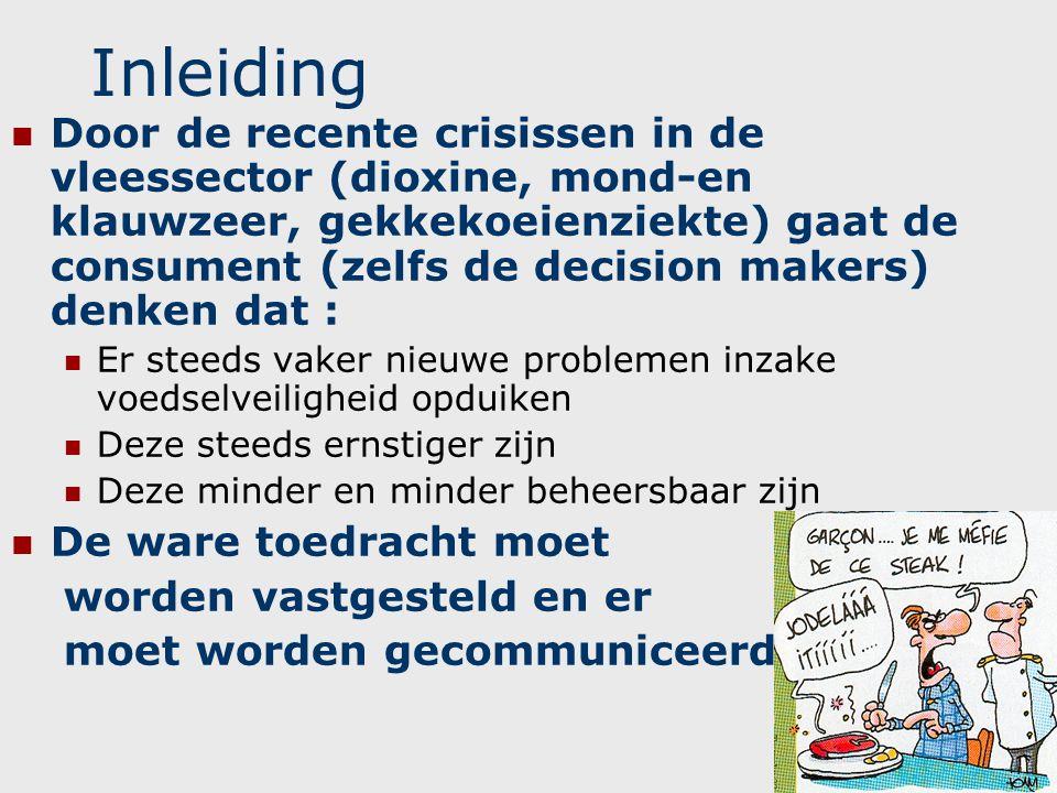 Inleiding  Door de recente crisissen in de vleessector (dioxine, mond-en klauwzeer, gekkekoeienziekte) gaat de consument (zelfs de decision makers) d
