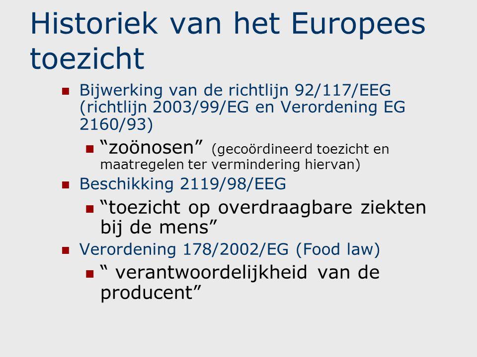 """Historiek van het Europees toezicht  Bijwerking van de richtlijn 92/117/EEG (richtlijn 2003/99/EG en Verordening EG 2160/93)  """"zoönosen"""" (gecoördine"""