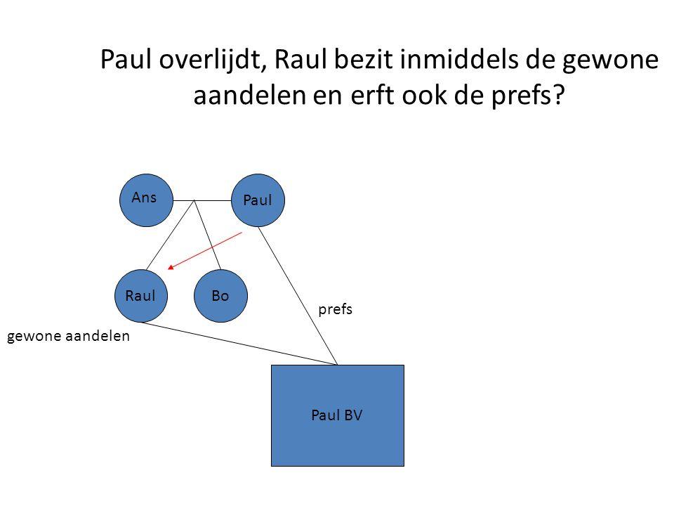 Paul overlijdt, Raul bezit inmiddels de gewone aandelen en erft ook de prefs? Paul BV Paul gewone aandelen prefs Ans RaulBo