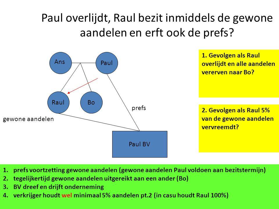 Paul overlijdt, Raul bezit inmiddels de gewone aandelen en erft ook de prefs? Paul BV Paul gewone aandelen prefs Ans RaulBo 1.prefs voortzetting gewon