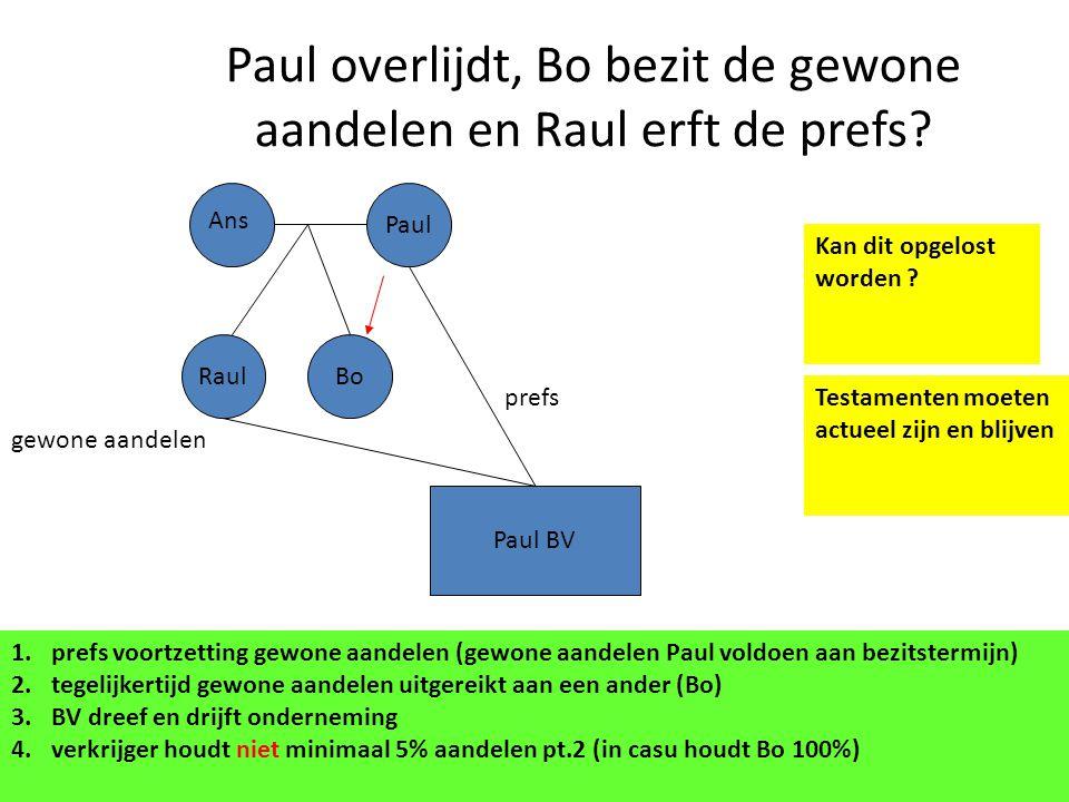 Paul overlijdt, Bo bezit de gewone aandelen en Raul erft de prefs? Paul BV Paul gewone aandelen prefs Ans RaulBo 1.prefs voortzetting gewone aandelen