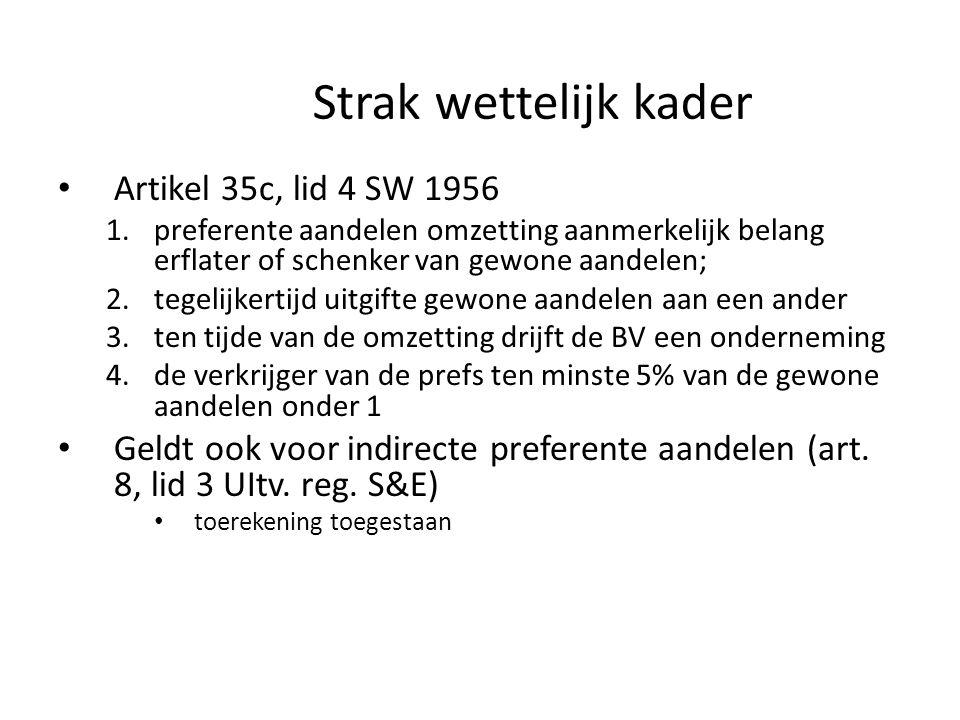 Strak wettelijk kader • Artikel 35c, lid 4 SW 1956 1.preferente aandelen omzetting aanmerkelijk belang erflater of schenker van gewone aandelen; 2.teg